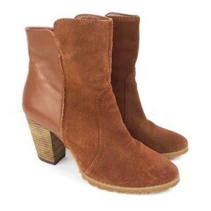 Tahari Ankle Booties Glenn Stacked Heel Camel 7.5